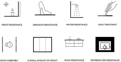 Qualities of Monolith Frost resistance, abrasion resistance, water resistance, easy treatment, quick assembly, Small grout, Stain resistance, temperature resistance