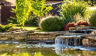 Water feature designed into landscaping