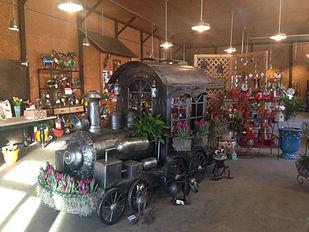 Unique train inside The Tulip Company gift shop