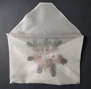 """Helen Walsh  'Message to the Heavens' (2020) Hand embroidery and feathers on silk organza  33 x 31 cm (13 x 12"""")"""