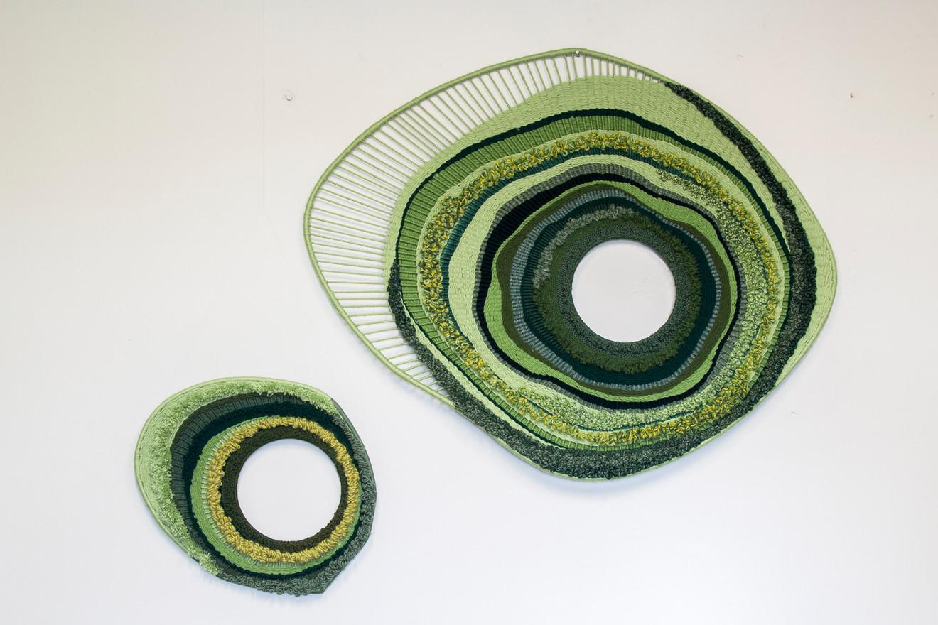 "Ann Mechelinck  'Healing II' (2020) Textiles, two pieces 100 x 80cm (39 x 35"") and 40 x 47cm (16 x 18"" )"
