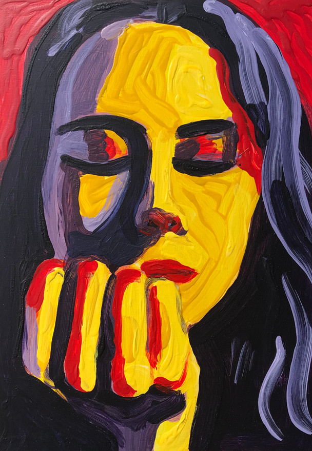 "Hannah Lingard 'Lockdown 2' (2020) Acrylic on wooden board 21 x14cm (8 x 5"")"