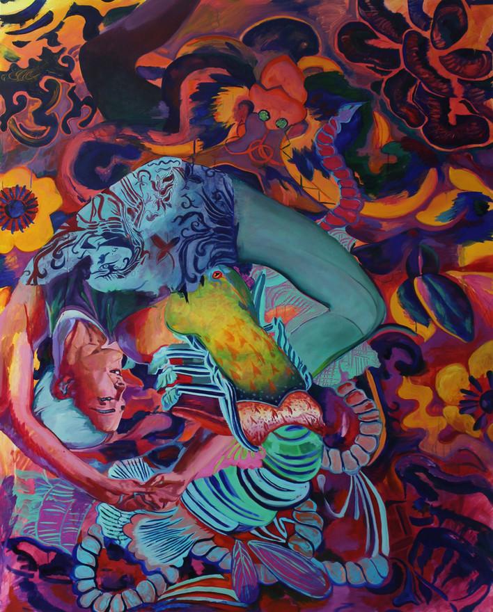 "Felicity Meachem 'Lightning so bright it came through the pillow' (2020) Oil on canvas 150 x 120cm (60 x 48"")"