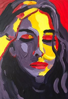 "Hannah Lingard 'Lockdown 3' (2020) Acrylic on wooden board 21 x14cm (8 x 5"")"
