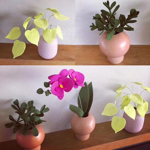 Working on some little felt houseplants