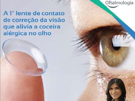 A 1° lente de contato de correção da visão que alivia a coceira alérgica do olho.