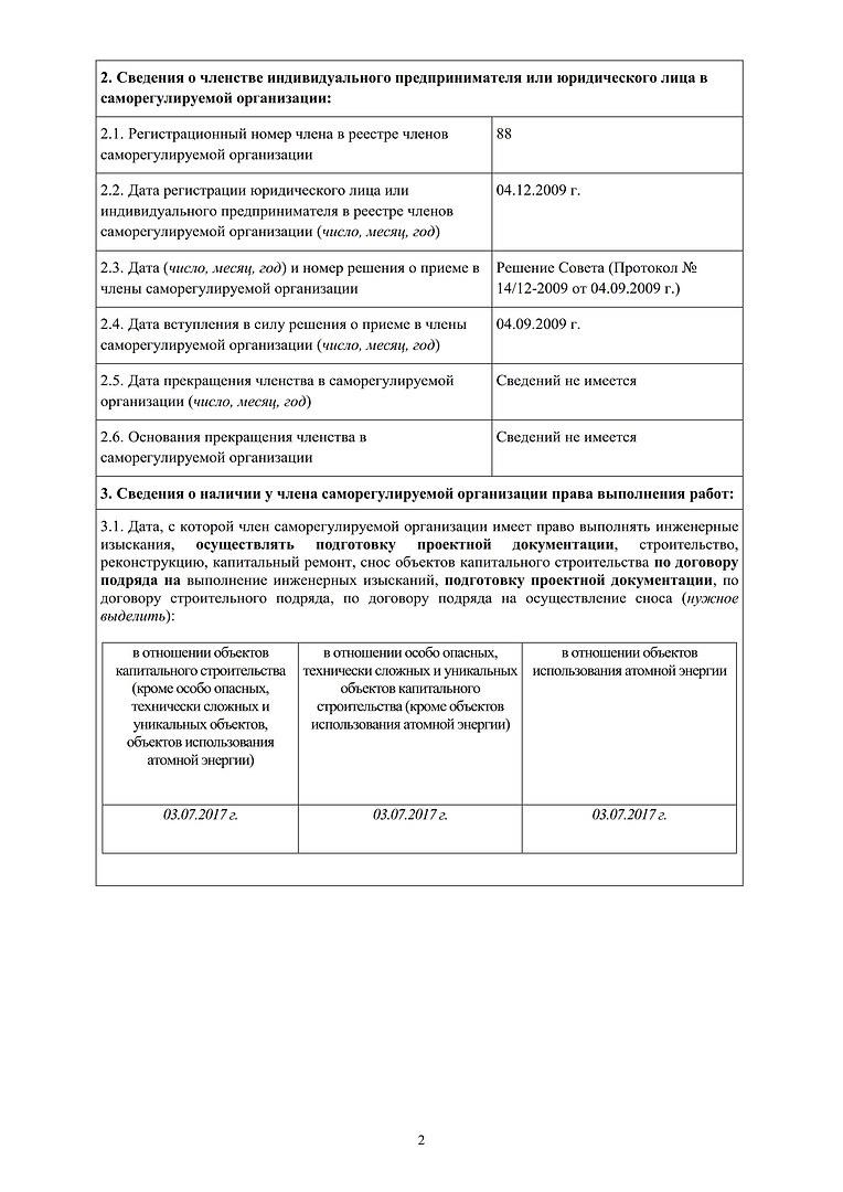 Выписка из реестра членов СОЮЗАТОМПРОЕКТ