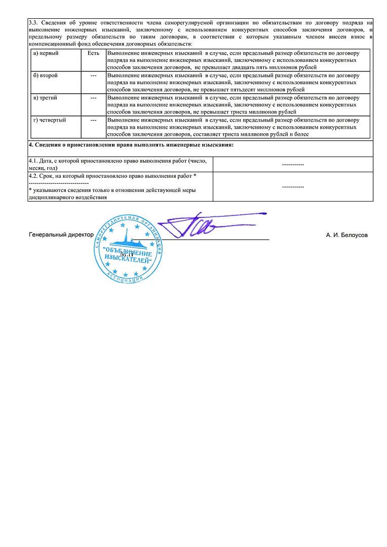 Выписка из реестра членов СРО А Объедине