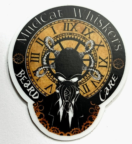Small MudCat Whiskers Steampunk Logo Sticker