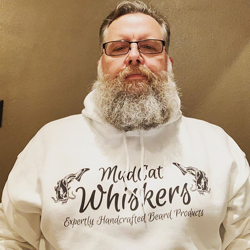 White MudCat Whiskers Hoodie with Steampunk Logo