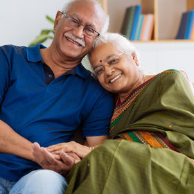 Portrait of senior Indian couple smiling