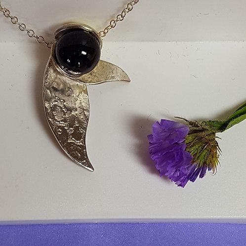 Amethyst Sphere & Leaves Necklace