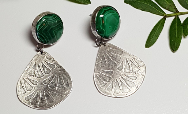 Malachite Etched Earrings