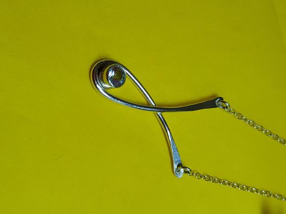 Wishbone Necklace with Topaz