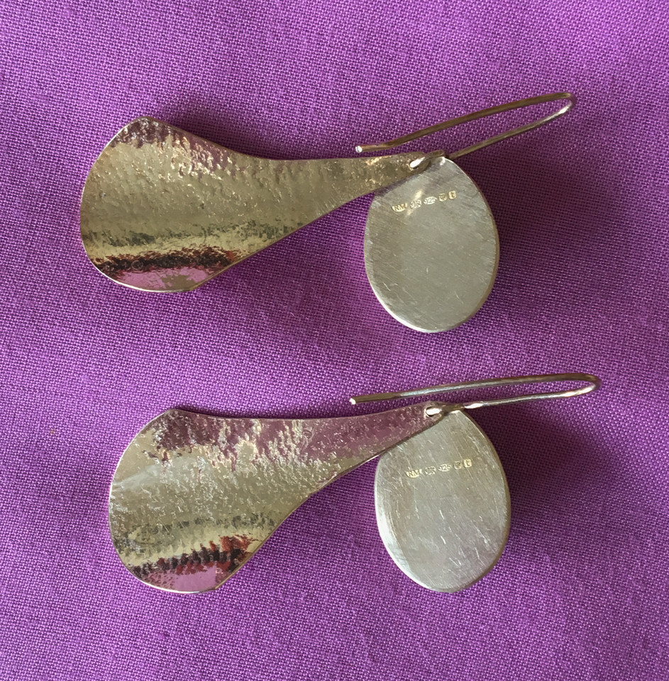 Oval Amethyst Paddle Earrings