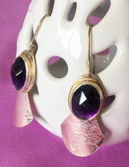 Oval Amethyst Paddle Earrings