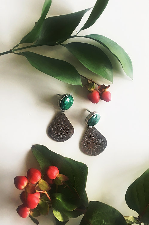 Malachite & oxidised Stirling Silver Etched Earrings