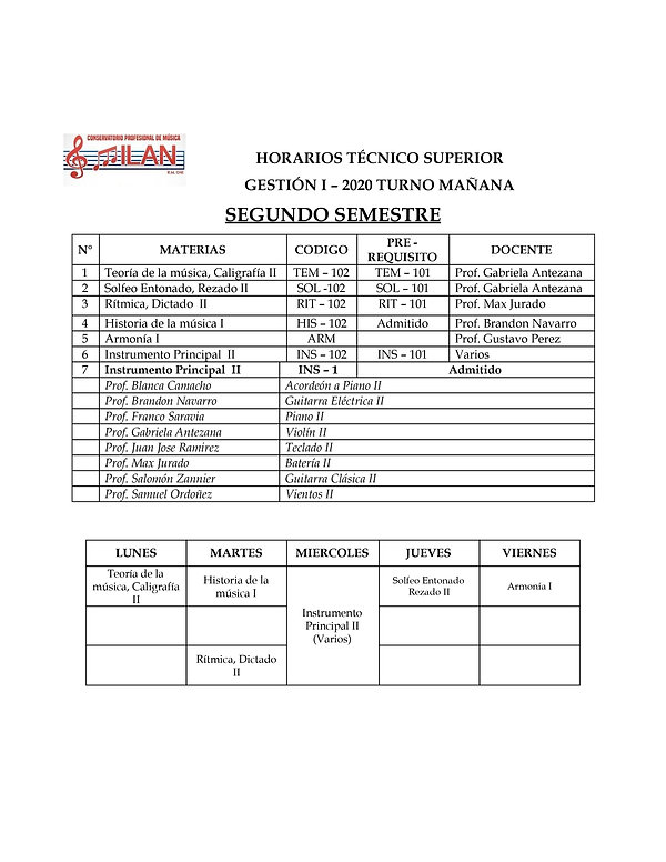 HORARIOS TEORICOS ALUMNOS I 2020 junio-2