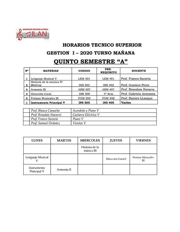 HORARIOS TEORICOS ALUMNOS I 2020 junio-5