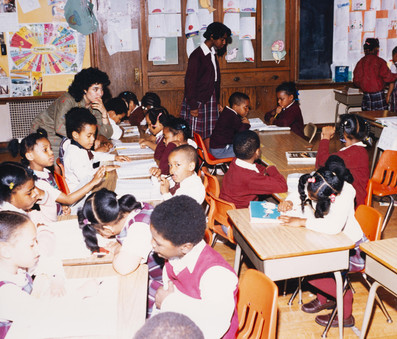 Date of Photograph: ca. 1980s  Inside classroom with students at the R.D. Henton Academy.  Physical Attributes: Color (5287 x 4511 px; 96 dpi)  Photo Credit: Courtesy of R.D. Henton Breakthrough Ministries.  R.D. Henton Academy | R.D. Henton Photo Library