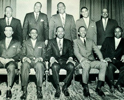 Date of Photograph: ca. 1966  The Ministers Board of the Monument of Faith Deliverance Center.  Physical Attributes: Black and White (624 x 503 px; 96 dpi)  Photo Credit: Courtesy of R.D. Henton Breakthrough Ministries.  Monument of Faith Church on Racine   R.D. Henton Photo Library.