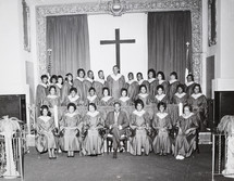 Date of Photograph: ca. 1960s  The first choir of the Monument of Faith Deliverance Center.  Physical Attributes: Black and White (5370 x 4170 px; 96 dpi)  Photo Credit: Courtesy of R.D. Henton Breakthrough Ministries.  Monument of Faith Church on Racine   R.D. Henton Photo Library.