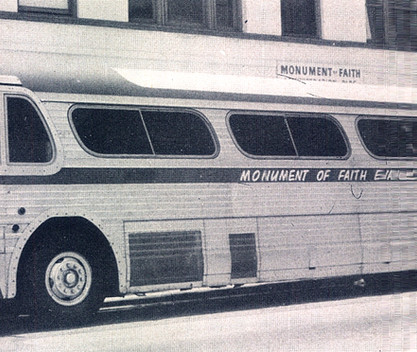 Date of Photograph: ca. 1960s-1970s  The Monument of Faith Evangelistic Church bus parked outside of the Monument of Faith Deliverance Center.  Physical Attributes: Black and White (1343 x 659 px; 96 dpi)  Photo Credit: Courtesy of R.D. Henton Breakthrough Ministries.  Monument of Faith Church on Racine | R.D. Henton Photo Library.