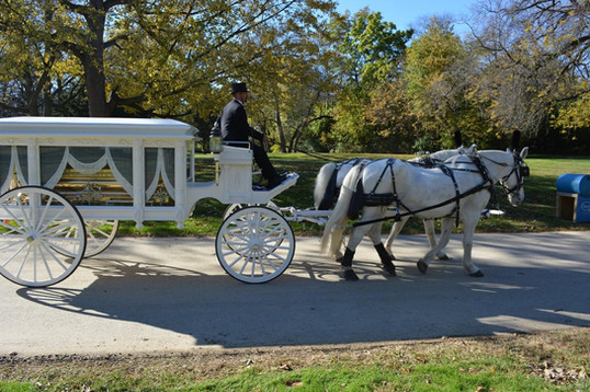 Date of Photograph: ca. November 2, 2015  The horse drawn carriage carrying the casket at the internment of Apostle Richard D. Henton  Physical Attributes: Color (2048 x 1365 px; 96 dpi)  Photo Credit: Courtesy of Rory Trotter Sr.  Going Home | R.D. Henton Photo Library