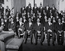 Date of Photograph: ca. 1969  The Men's Department of the Monument of Faith Deliverance Center. Front row shown from left to right: Pastor R.D. Henton, Bro. Claude Timmons, Vernal Henton, Deacon John Skyes.  Physical Attributes: Black and White (5625 x 4381 px; 96 dpi)  Photo Credit: Courtesy of R.D. Henton Breakthrough Ministries.  Monument of Faith Church on Racine   R.D. Henton Photo Library.