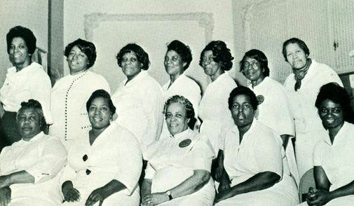 Date of Photograph: ca. 1966  The Prayer Band of the Monument of Faith Deliverance Center.  Physical Attributes: Black and White (622 x 361 px; 96 dpi)  Photo Credit: Courtesy of R.D. Henton Breakthrough Ministries.  Monument of Faith Church on Racine   R.D. Henton Photo Library.