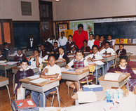 Date of Photograph: ca. 1980s  Inside classroom with students at the R.D. Henton Academy.  Physical Attributes: Color (5347 x 4353 px; 96 dpi)  Photo Credit: Courtesy of R.D. Henton Breakthrough Ministries.  R.D. Henton Academy | R.D. Henton Photo Library