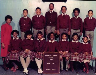Date of Photograph: ca. 1984  R.D. Henton Academy room 301 class photo.  Physical Attributes: Color (2186 x 1699 px; 96 dpi)  Photo Credit: Courtesy of R.D. Henton Breakthrough Ministries.  R.D. Henton Academy | R.D. Henton Photo Library