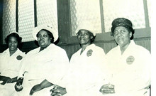 Date of Photograph: ca. 1966  The Mothers Board of the Monument of Faith Deliverance Center.  Physical Attributes: Black and White (1364 x 837 px; 96 dpi)  Photo Credit: Courtesy of R.D. Henton Breakthrough Ministries.  Monument of Faith Church on Racine   R.D. Henton Photo Library.