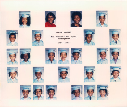 Date of Photograph: ca. 1984-1985  R.D. Henton Academy Kindergarten class photo.  Physical Attributes: Color (2362 x 1976 px; 96 dpi)  Photo Credit: Courtesy of R.D. Henton Breakthrough Ministries.  R.D. Henton Academy | R.D. Henton Photo Library