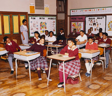 Date of Photograph: ca. 1980s  Inside classroom with students at the R.D. Henton Academy.  Physical Attributes: Color (5270 x 4486 px; 96 dpi)  Photo Credit: Courtesy of R.D. Henton Breakthrough Ministries.  R.D. Henton Academy | R.D. Henton Photo Library