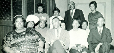 Date of Photograph: ca. 1966  The Pastors Aide Committee of the Monument of Faith Deliverance Center.  Physical Attributes: Black and White (1128 x 531 px; 96 dpi)  Photo Credit: Courtesy of R.D. Henton Breakthrough Ministries.  Monument of Faith Church on Racine   R.D. Henton Photo Library.