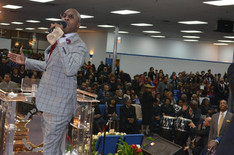 Gospel recording artist Ricky Dillard leads the Levites Reunion Choir in a musical medley during the Monument of Faith Church Family Homegoing Celebration for Apostle Richard D. Henton
