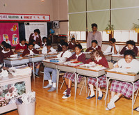 Date of Photograph: ca. 1980s  Inside classroom with students at the R.D. Henton Academy.  Physical Attributes: Color (5294 x 4377 px; 96 dpi)  Photo Credit: Courtesy of R.D. Henton Breakthrough Ministries.  R.D. Henton Academy | R.D. Henton Photo Library