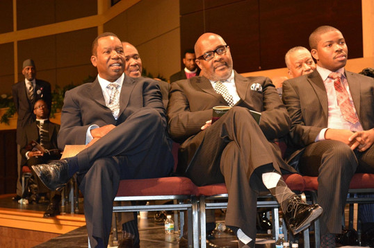 Date of Photograph: ca. October 31, 2015  Pictured from left to right:  Pastor James Meeks, Pastor Marvin Winans and Prophet Brian Carn at the National Homegoing Celebration of Apostle Richard D. Henton, held at the House of Hope in Chicago IL.  Physical Attributes: Color (2048 x 1365 px; 96 dpi)  Photo Credit: Courtesy of Rory Trotter Sr.  Going Home | R.D. Henton Photo Library