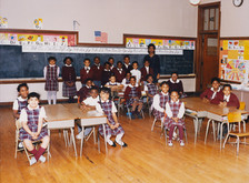 Date of Photograph: ca. 1980s  Inside classroom with students at the R.D. Henton Academy.  Physical Attributes: Color (5911 x 4355 px; 96 dpi)  Photo Credit: Courtesy of R.D. Henton Breakthrough Ministries.  R.D. Henton Academy | R.D. Henton Photo Library