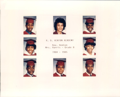 Date of Photograph: ca. 1984-1985  R.D. Henton Academy 8th Grade class photo.  Physical Attributes: Color (2360 x 1900 px; 96 dpi)  Photo Credit: Courtesy of R.D. Henton Breakthrough Ministries.  R.D. Henton Academy | R.D. Henton Photo Library
