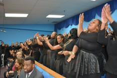 The Levites Reunion Choir singing during the Monument of Faith Church Family Homegoing Celebration for Apostle Richard D. Henton