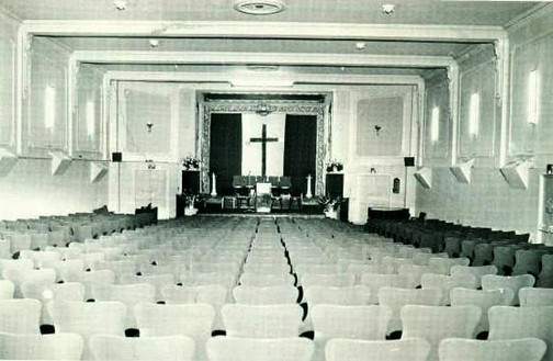 Date of Photograph: ca. 1966  The inside of the Monument of Faith Deliverance Center from the back to the front.  Physical Attributes: Black and White (556 x 363 px; 96 dpi)  Photo Credit: Courtesy of R.D. Henton Breakthrough Ministries.  Monument of Faith Church on Racine   R.D. Henton Photo Library.
