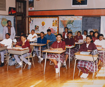 Date of Photograph: ca. 1980s  Inside classroom with students at the R.D. Henton Academy.  Physical Attributes: Color (5310 x 4397 px; 96 dpi)  Photo Credit: Courtesy of R.D. Henton Breakthrough Ministries.  R.D. Henton Academy | R.D. Henton Photo Library