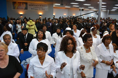 The congregation at the Monument of Faith Church Family Homegoing Celebration for Apostle Richard D. Henton