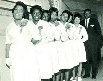 Date of Photograph: ca. 1966  The Ushers Board of the Monument of Faith Deliverance Center.  Physical Attributes: Black and White (346 x 274 px; 96 dpi)  Photo Credit: Courtesy of R.D. Henton Breakthrough Ministries.  Monument of Faith Church on Racine   R.D. Henton Photo Library.