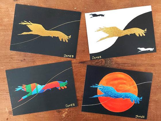 Set of 4 postcards - Golden Thread Series