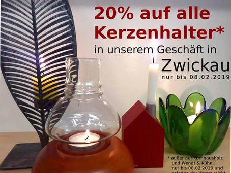 20% Rabatt auf alle Kerzenhalter