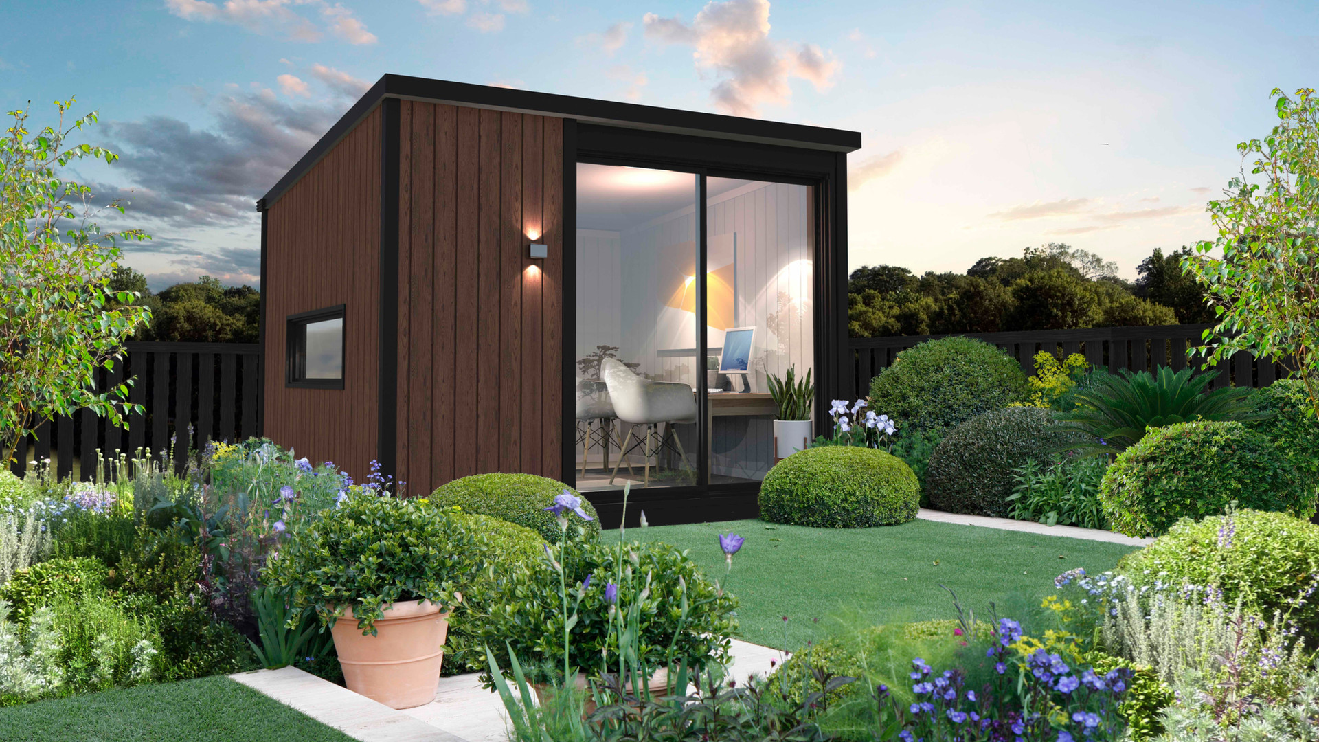 inoutside garden office - 3.6x3.6m Cabin design