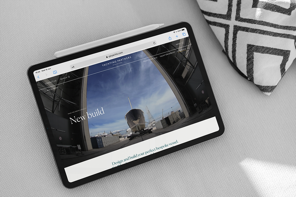 New build yacht page being viewed on an iPad